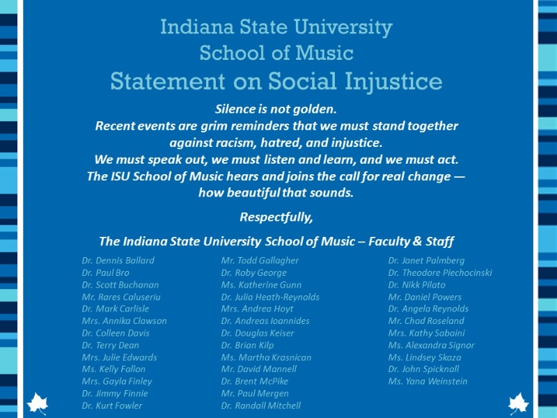 School of Music Social Injustice Statement